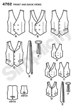 4762 Simplicity Pattern: Boys' and Men's Waistcoats and Ties